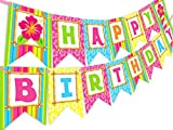 : Luau Tiki Happy Birthday Banner Pennant