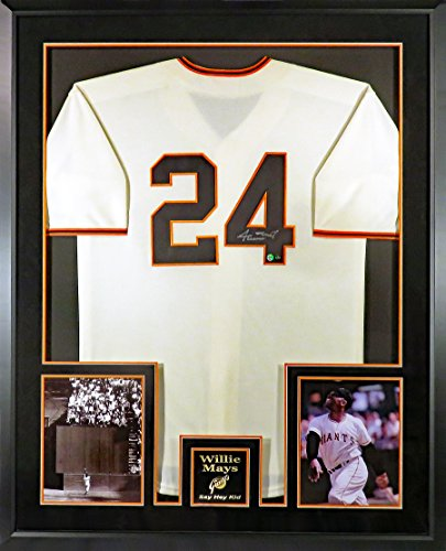 "SF/NY Giants Willie Mays Autographed Jersey (Deluxe w/ ""The Catch"" Photo) Framed (COA) - Willie Mays Autographed Photo"
