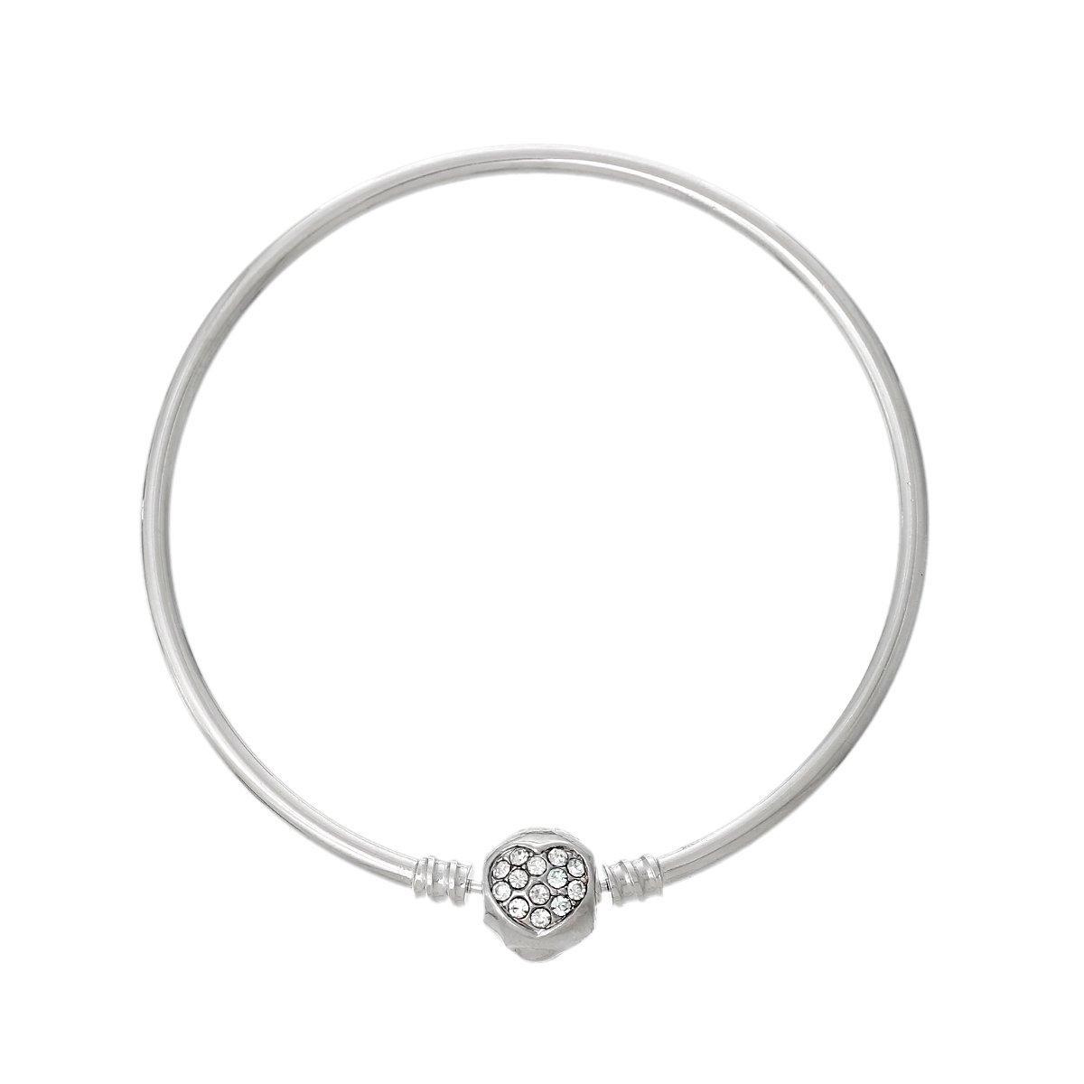 Copper European Charm Bangle Bracelet Silver Tone with Clear Rhinestones Heart