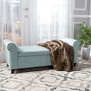 Christopher Knight Home Living Darrington Armed Light Blue Fabric Storage Bench, 19.75 inches deep x 50.00 inches wide x 19.50 inches high