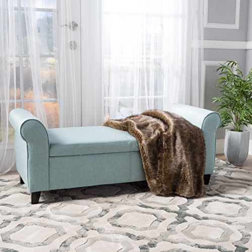 Darrington Armed Light Blue Fabric Storage Bench