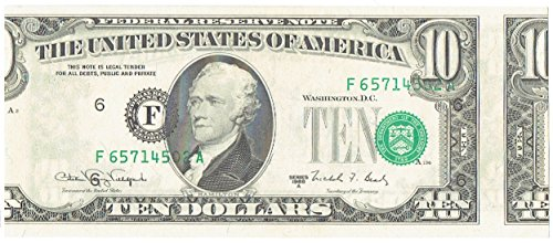 (1988 A 10 Green Seal FRN Error Note Miscut Obverse. Out of Register)