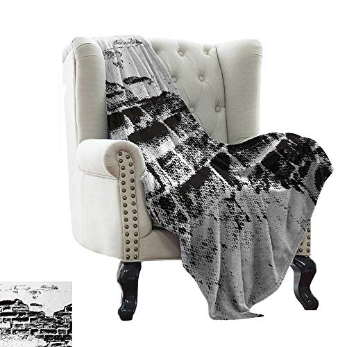 LsWOW Flannel Fleece Reversible Blanket Black and White,Grunge Wall Texture Halftone Effect Brickwork Retro Poster Style Image,Black and White Blanket for Sofa Couch TV Bed All Season 35