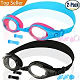 COOLOO Kids Swim Goggles, Pack of 2, Swimming Glasses for Children and Early Teens from 3 to 15 Years Old, Anti-Fog, Waterproof, UV Protection, Made by