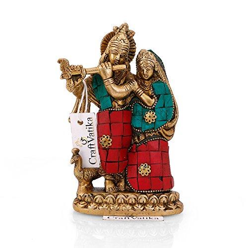 CraftVatika Brass Radha Krishna Statue Hindu Divine Sculpture for Love & Happiness Wedding Anniverasry Gift