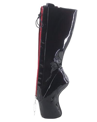 new style f1330 d2839 WONDERHEEL Damen Fetisch Locked Zipper Ballett Stiefel ...