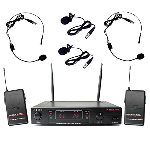 Phenyx Pro Dual VHF Wireless Microphone System, Fixed Frequency, Stable Signal, Easy Setup, Best for Home Use, Church, Karaoke, Events (PTV-1) (Two Headsets and Two Lapels, Black)