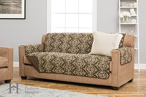 Kingston Collection Deluxe Reversible Stain Resistant Furniture Protector with Beautiful Printed Pattern. Includes Adjustable Straps. By Home Fashion Designs Brand. (Sofa, Chocolate) (Pattern Couch Cover)