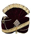 INMONARCH Mens Matching Gota Patti Bead Turban Pagari Safa Groom Hats TU1093 22H-Inch Maroon