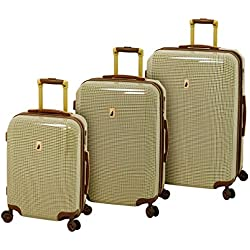 London Fog Cambridge Hardside 3 Piece Set, Olive Houndstooth