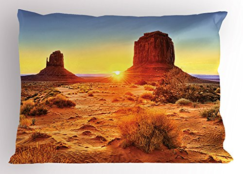 Canyon Pillow Sham by Lunarable, Monument Valley Tribal Park with Sunset and Big Carved Stone Indian Lands Print, Decorative Standard King Size Printed Pillowcase, 36 X 20 Inches, Brown - Park Sun Land