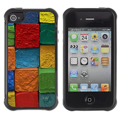 Apple Iphone 4 / 4S - Colorful Cube Block Art Pattern