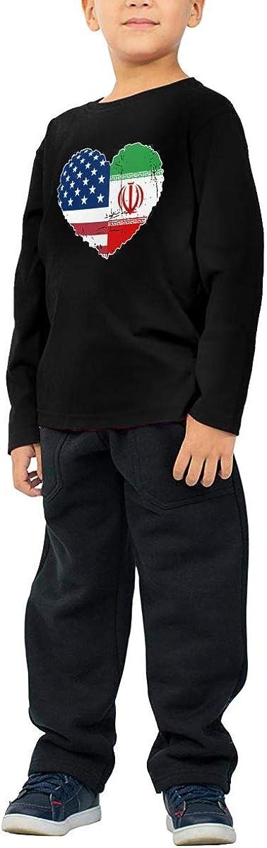 CERTONGCXTS Little Girls Iran USA Flag Heart ComfortSoft Long Sleeve Shirt