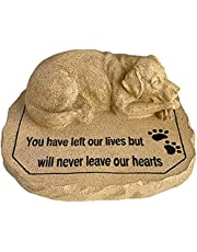 Lily's Home Weather Resistant Outdoor Memorial Garden Headstone with Dog Figurine