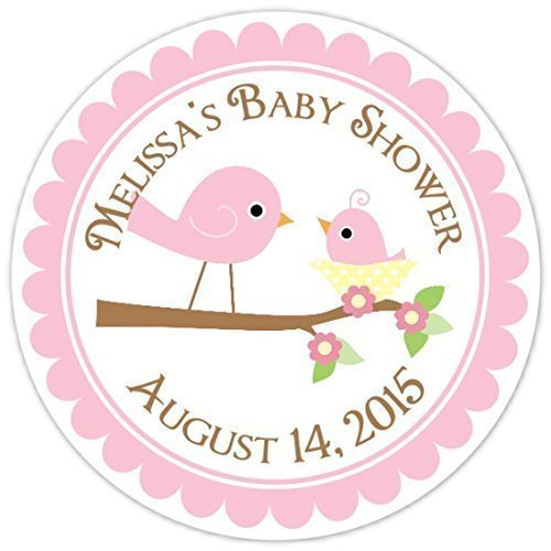 Baby birds baby shower labels mommy and baby bird custom baby shower stickers personalized