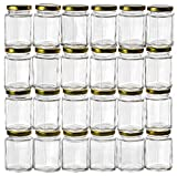 4oz glass jar with lid - GoJars 4oz Premium Food-Grade Hexagon Glass Jars for Gifts, Wedding Favors, Honey, Jams and More (24, 4oz)
