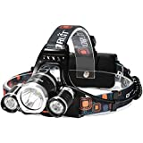 Super Bright Rechargeable Headlamp,3 Beads 4 Modes Led Head lamp Led Headlight+2*18650 Rechargeable Batteries+USB Cable+AC Charger+Car Charger for Camping Fishing Hiking Hunting Outdoor Sports