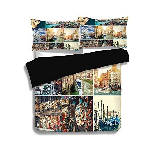 SINOVAL Black Duvet Cover Set Queen Size,Italian,Designed Masks for Carnival of Venice Baroque Style Gondolas River Italy Landmark,Multicolor,Decorative 3 Pcs Bedding Set (Mask Carnival Italian)