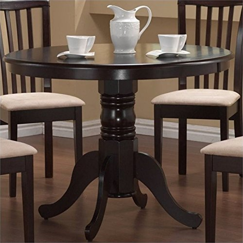 Bowery Hill Round Single Pedestal Dining Table in Cappucino - Edge Round Single Pedestal Table