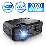 [UPGRADER] Projector, ABOX A2 720P Portable Projector, 4200 Lux 1080P Supported LCD Video Projector, Multimedia Home Theater Projector Support HDMI USB SD Card VGA AV for Home Entertainment, Party and Games