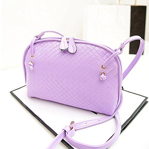 Chaufly Bolso tejido bolso retro mini diagonal mini bolsa de mensajero Luz Púrpura