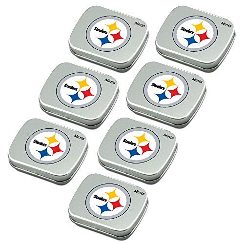 Worthy Promo NFL Pittsburgh Steelers Party Favors Peppermint Candy Mint Tins 7-Pack for Valentine's Day, Party, Birthday, Stocking Stuffers