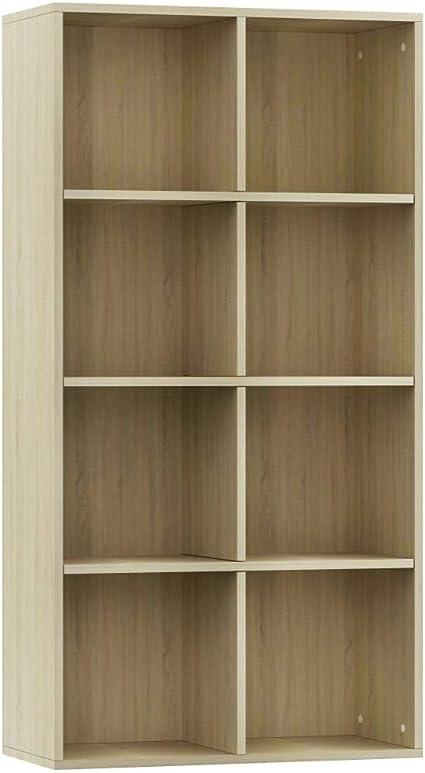 Festnight Estantería de Libros Estantería de Pared Mueble TV Aglomerado con 8 Compartimentos Mueble de Almacenaje Oficina Dormitorio Salón Roble ...