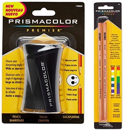 Prismacolor Blender Pencil Colorless (2 Piece) & Premier Pencil Sharpener by Prismacolor