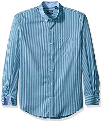 IZOD Men 's Essential Gingham camisa de manga larga, Gulf Stream, Large