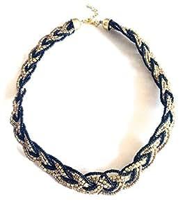 Réf1P00 CO.1452-Collar para mujer con estilo Boho-redondo de perlas dorados y negros de trenzado, color dorado