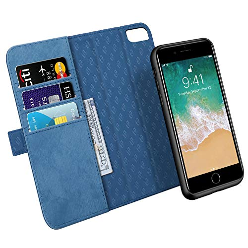Zover Compatible with iPhone 8 Plus 7 Plus 6 Plus Detachable Wallet Case Premium PU Leather [RFID Blocking] Flip Folio Cards Holder Support Wireless Charging Car Mount Kickstand(6/7/8Plus 5.5