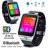Indigi 2-in-1 GSM Unlocked Bluetooth Sync Watch Phone For Galaxy S6 Edge Note 4 iPhone 6 6 Plus (Silver)