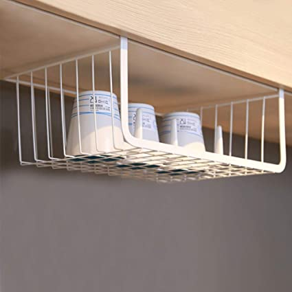 Moyad Under Shelf Basket Hanging Storage Wrap Rack Organizer For Kitchen Cabinet Pantry Wardrobe Office Desk White