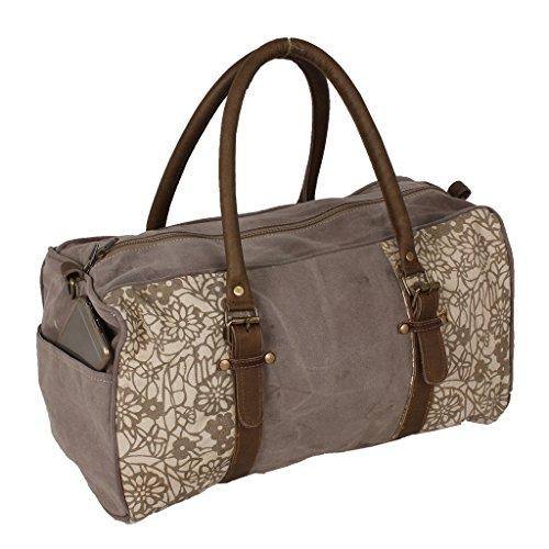 LAROUCO LOFT Bolso de mano vintage estampado de algodón reciclado y piel 40X19X21 CM