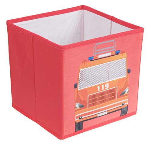 Clever Creations Fire Truck Collapsible Storage Organizer Firetruck Storage Box Folding Storage Ottoman for Your Bedroom   Perfect Size Storage Chest for Books, Shoes & Games (Decor Truck Wall Fire)