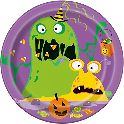 Silly Halloween Monsters Appetizer Party Plates, 8 -