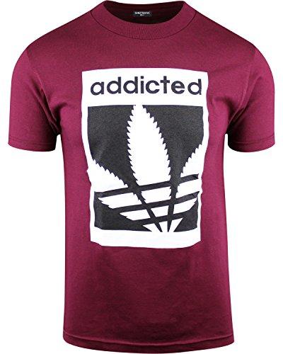 Mens Marijuana Enthusiast Weed Shirts (Addicted Burgundy, S)