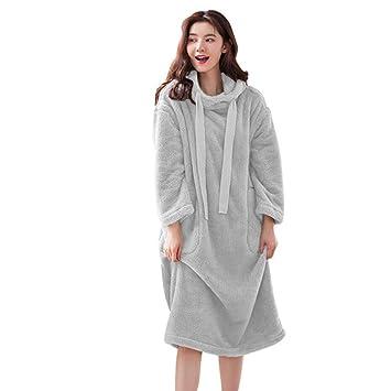 4de0fcbe50c3c Polaire pour femme Longueur complète Robe Peignoir à capuche Super Doux, EN  Peluche chaude Pull