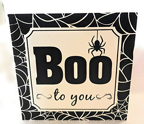 Wooden Wall or Table Decor for Halloween Square Box Decoration (White/Black) ()