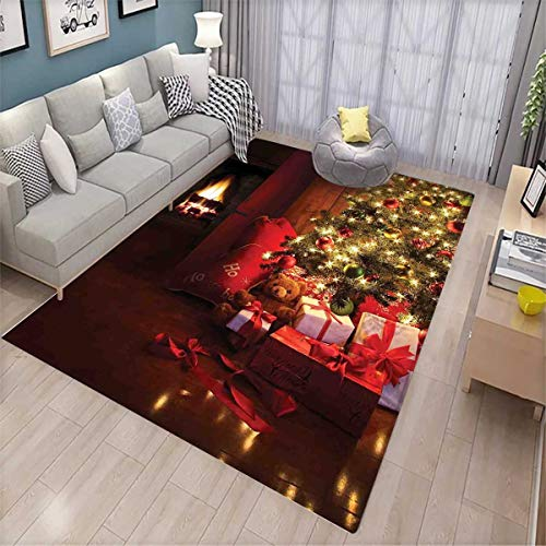 Christmas Floor Mat for Kids Xmas Scene Celebrations with Tree and Gifts by The Fireplace Artful Design Image Bath Mat Non Slip Red Yellow by smallbeefly