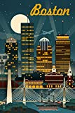 Boston, Massachusetts - Retro Skyline (12x18 Art Print, Wall Decor Travel Poster)