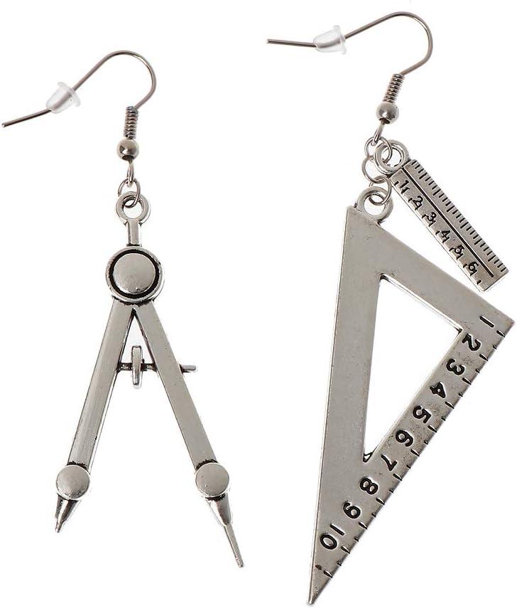 Harajuku - Pendientes asimétricos con forma de cuchara y tenedor triangular, joyería de plata envejecida