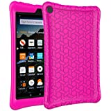 eTopxizu Case for All-New Amazon Fire HD 8 2018/2017, Kids Friendly Light Weight Anti Slip Shock Proof Protective Cover Soft Silicone Back Case for New Fire HD 8 Tablet 2018/2017, Rose Pink