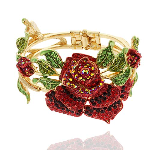 SP Sophia Collection Gold Bathed Snap on Metal Large Rose Bracelet Bangle in Red