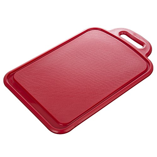 Prepworks by Progressive Medium Cutting Board - Red , Deep Grooves Collect Juices, No Mess, Easy to Clean, Dishwasher Safe