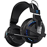 Gaming Headphone Wired for PC/Mac/PS4/Xbox with Microphone,Horsky E-Blue Surround Stereo Over Ear Headset for Computer Gamer Volume Control Noise Cancelling Earphone 3.5mm Jack LED Light Black For Sale