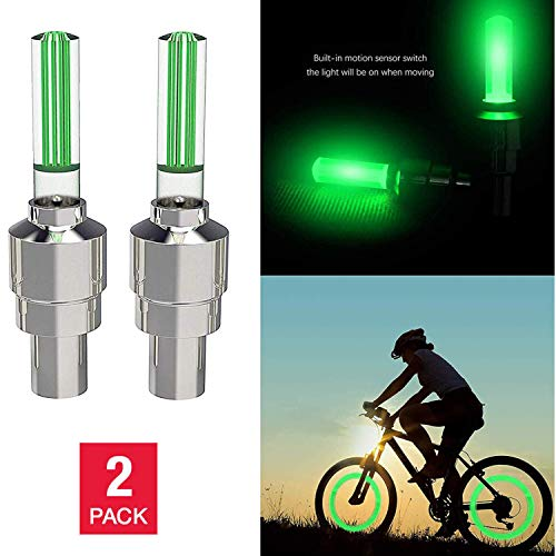 ME Superb Bicycle Wheel Valve Light | LED Stem Lights Set for Front & Rear Wheel Waterproof Bright Safety Visibility - 2 Pack Green