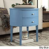 Double Drawer Oval Wood Accent Table (Sky Blue)