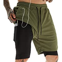 Zentrex Mens 2 in 1 Workout Running Shorts 7inch Quick Dry Gym Shorts with Zipper Pockets