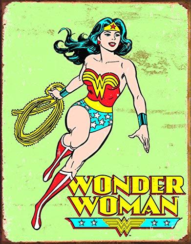 (Desperate Enterprises Wonder Woman Retro Tin Sign, 12.5